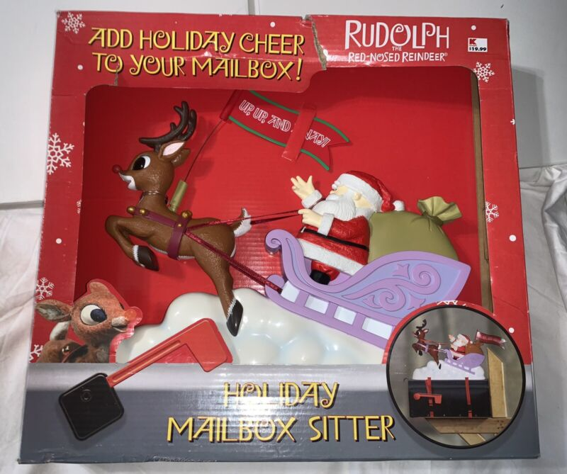 NIB! Rudolph The Red Nosed Reindeer Christmas Mailbox Sitter