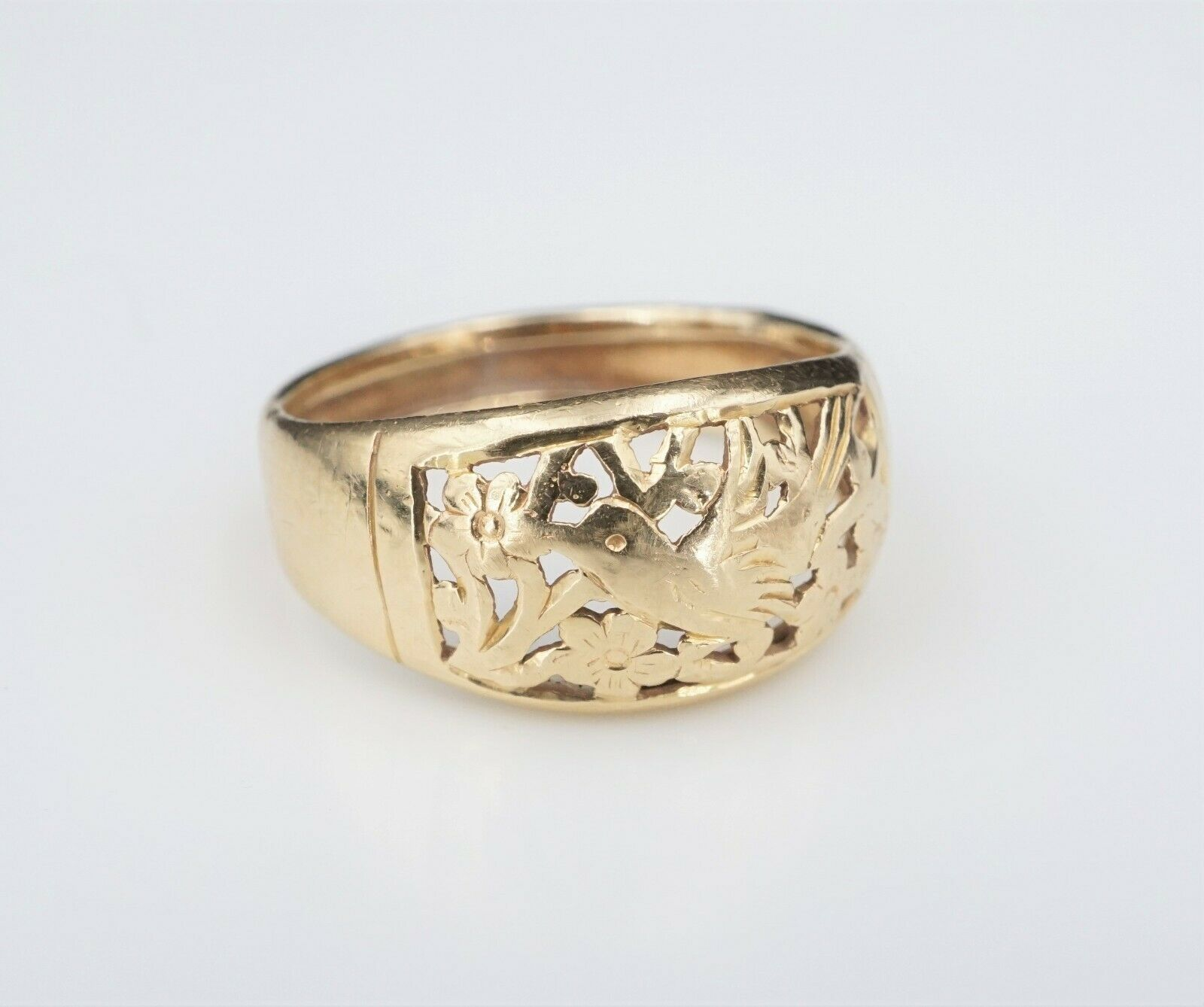 Vintage 14k Yellow Gold MIng s Bird Plum Blossom Ring Size 6.25 RG3077 - $712.31