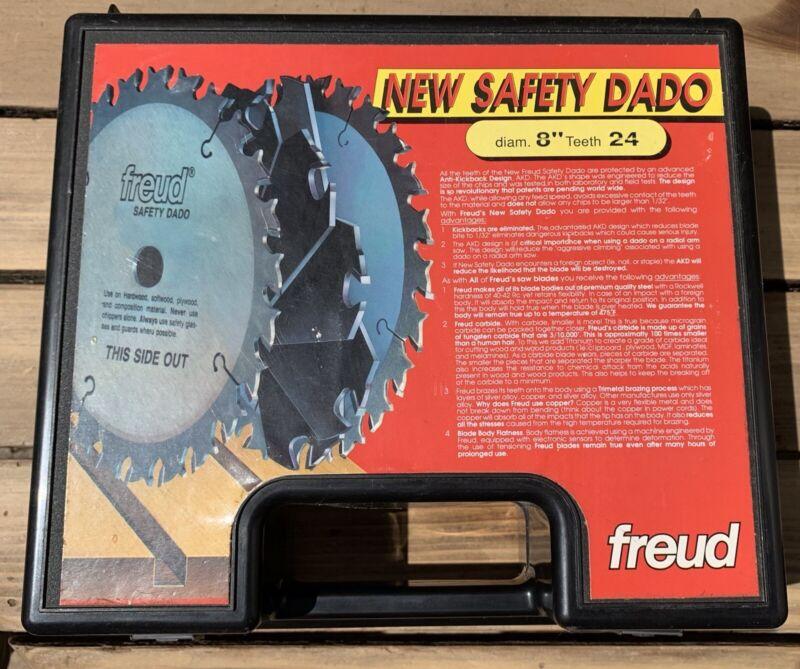 "FREUD 8"" CARBIDE DADO SET 24 TOOTH SD308  SAFETY DADO 1/8""-13/16"" Case w/8 Shims"