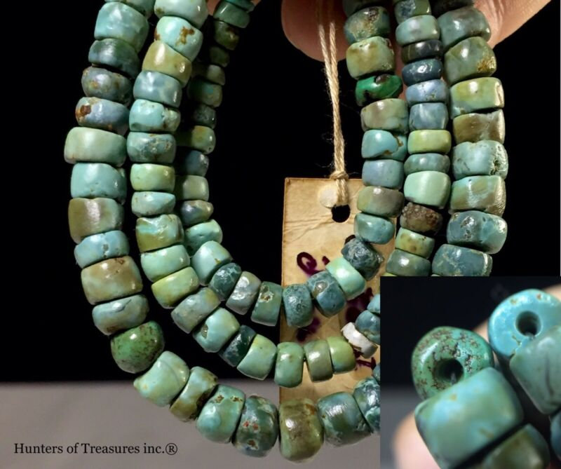Necklace w/ Ancient Pre Columbian Turquoise Greenstone Beads Chavin Indian