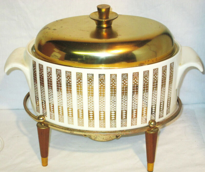 Mid Century Atomic Ceramic Brass lid 3Qt Casserole warmer stand Georges Briard