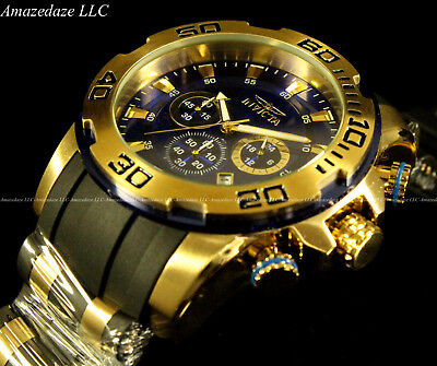 New Invicta Men Scuba  Pro Diver Chronograph18K GP Stainless Steel 100M Watch !!