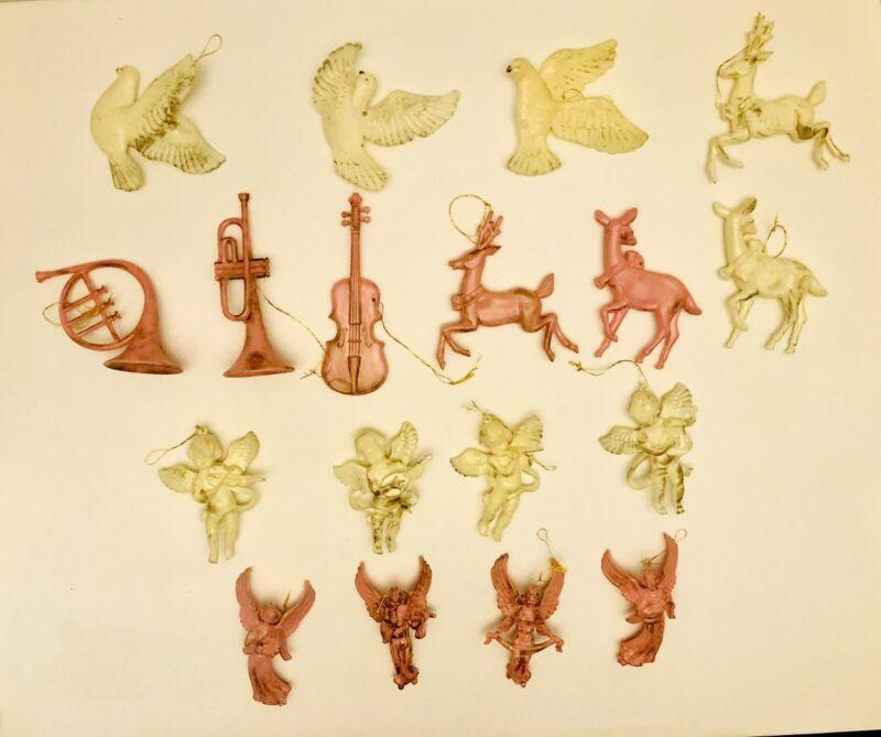 VTG Christmas Plastic Musical Instruments Cherubs Reindeer Lot Of 18 Ornaments