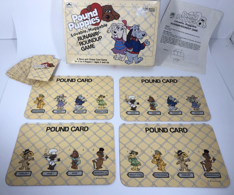 Pound Puppies Lovable Huggable Runaway Roundup Card Game Rare COMPLETE
