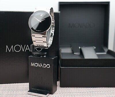 Swiss Movado Safiro Black Dial Stainless Steel Model # 0605803 Men's Watch