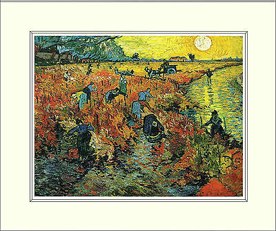 Van Gogh The Red Vineyard 10 x 8 Inch Mounted Art Print