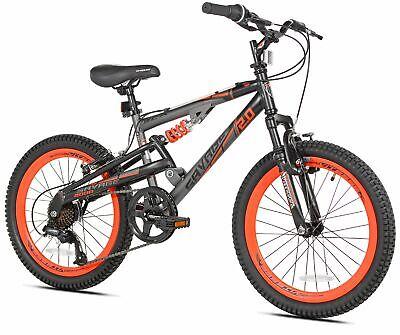 "20"" Savage Boy's Mountain Bike, Lightweight Aluminum Frame 7 speed. Gray/Orange"