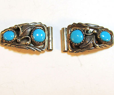 ladies' watch tips, sterling silver & turquoise, leaf & scroll work, signed