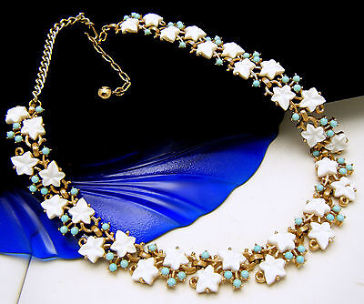 Crown Trifari Vintage Necklace White Leaf Turquoise Lucite Berry Gold Tone on Lookza