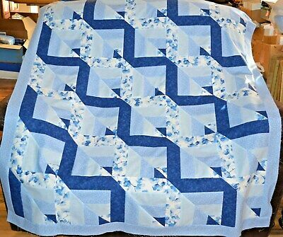 "QUILT TOP-Wacky Triangles in Shades of Blue, 52""x59"", HANDMA"