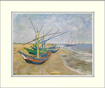 Van Gogh Fishing Boats on Beach Saintes-Maries 10 x 8 Inch Mounted Art Print