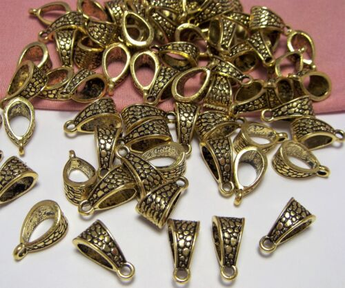 JEWELRY MAKING SUPPLIES BULK LOT OF 50 GOLD PENDANT BAILS-ANTIQUE GOLD METAL