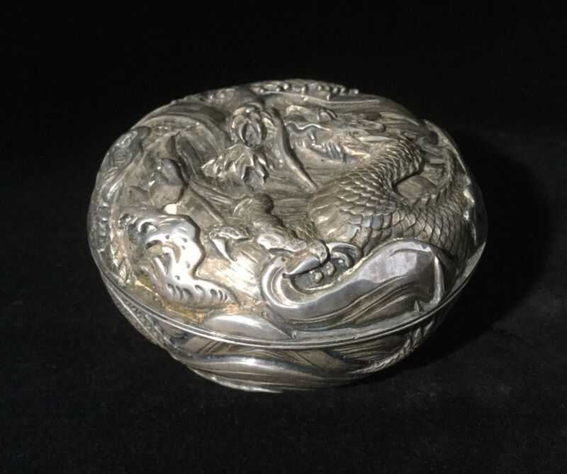 19th c. Japanese Repousse Silver Box-Water Dragon-Silversmith Marks        *3777