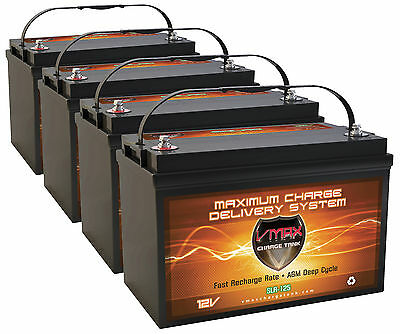 Qty4 Slr125 Solar Wind Deep Cycle Agm High Capacity Vmax Battery