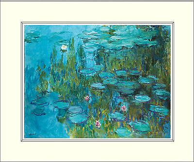 Monet Water Lilies 10 x 8 Inch Mounted Art Print