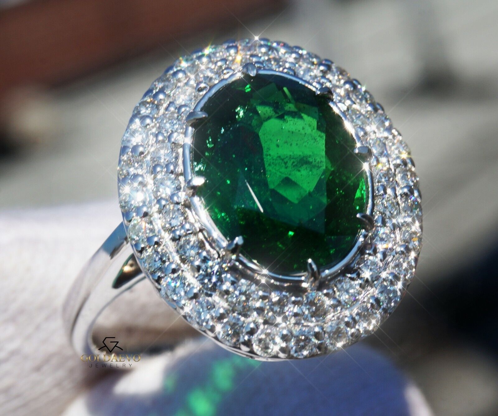 Tsavorite Diamond Ring Garnet Gold 14K Natural GIA Certified 4.44CT RETAIL$13600