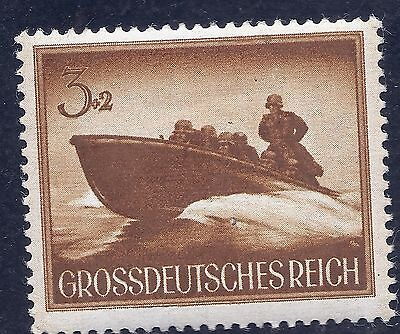 Nazi Germany Third Reich 1944 Nazi Speed Boat Soldiers 3+2 Stamp  WW2 Era #s