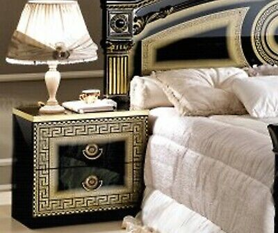 Italian Greek Key Versace Bedside Cabinet set in Black and Gold