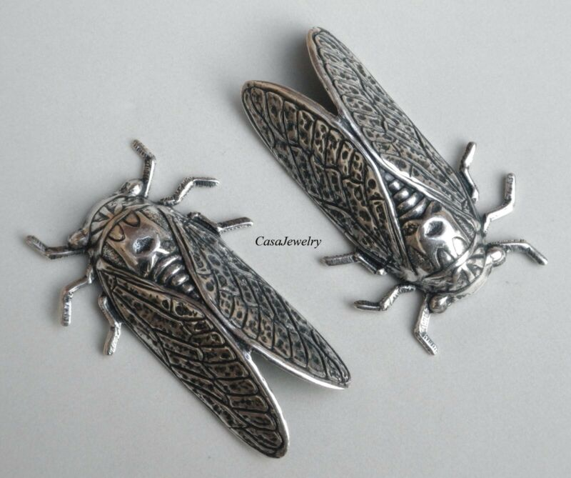 #5013RS LARGE ANTIQUED STERLING SILVER PLATED CICADA - 2 Pc Lot