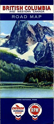 1958 Chevron Road Map: British Columbia and Western Canada NOS