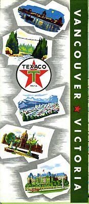 1958 Texaco Road Map: Vancouver Victoria NOS