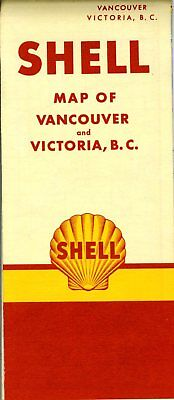 1951 Shell Road Map: Vancouver Victoria Header Variant NOS