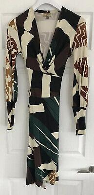 Issa Brown, Black & Green Knee Length Long Sleeve v Neck Silk Dress Size UK 10