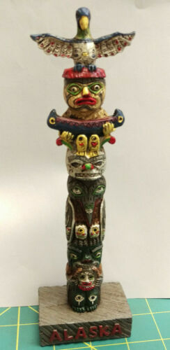 Alaska Souvenir Totem Pole 8 inches tall - Colorful! Hand painted w/ Thunderbird