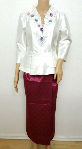 Cambodia Khmer Traditional Out fit Women Size S White Formal Seing Thai skirt