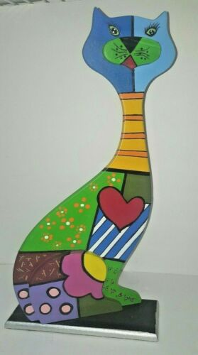 Cat in wood Hand-painted MDF in Britto technique