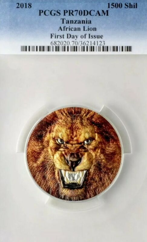 2018 Tanzania PANTERA LEO AFRICAN LION PCGS PR70DCAM FDI 2oz Proof Silver Coin