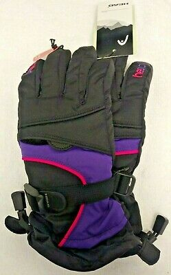 Head JR Ski Gloves Black/Purple/Pink Size Medium (Youth) Pink Ski Gloves