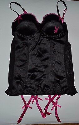 Playboy SILKY Corset Bunny Rabbit Logo & Pink Buttons with Garter Clips