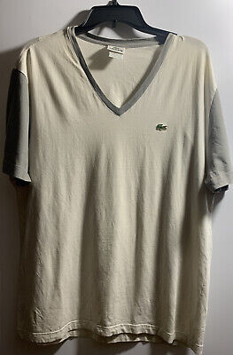 LACOSTE MEN'S SHORT SLEEVE V NECK SHIRT SIZE 8 (XL)