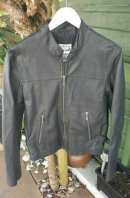 Men's John Richmond Cafe Racer Biker Leather Jacket - Size Small - Black
