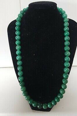 60s -70s Jewelry – Necklaces, Earrings, Rings, Bracelets Vintage 1960's Car ved Green Aventurine or Jade Bead Necklace 77 Grams 10mm  $70.51 AT vintagedancer.com