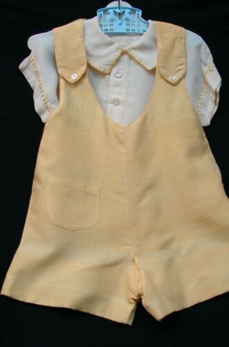 1920s VINTAGE LITTLE BOYS YELLOW SILK OUTFIT OVERALLS & SHIRT 3-4 year?