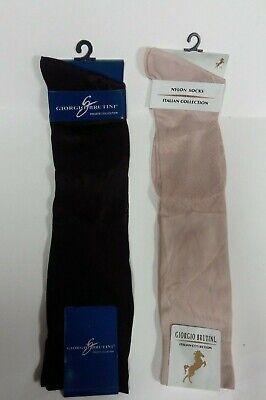 2 Giorgio Brutini Sheer Long Socks Sock Size 10-13 Dark Grape & Light Pink - Long Light Sock
