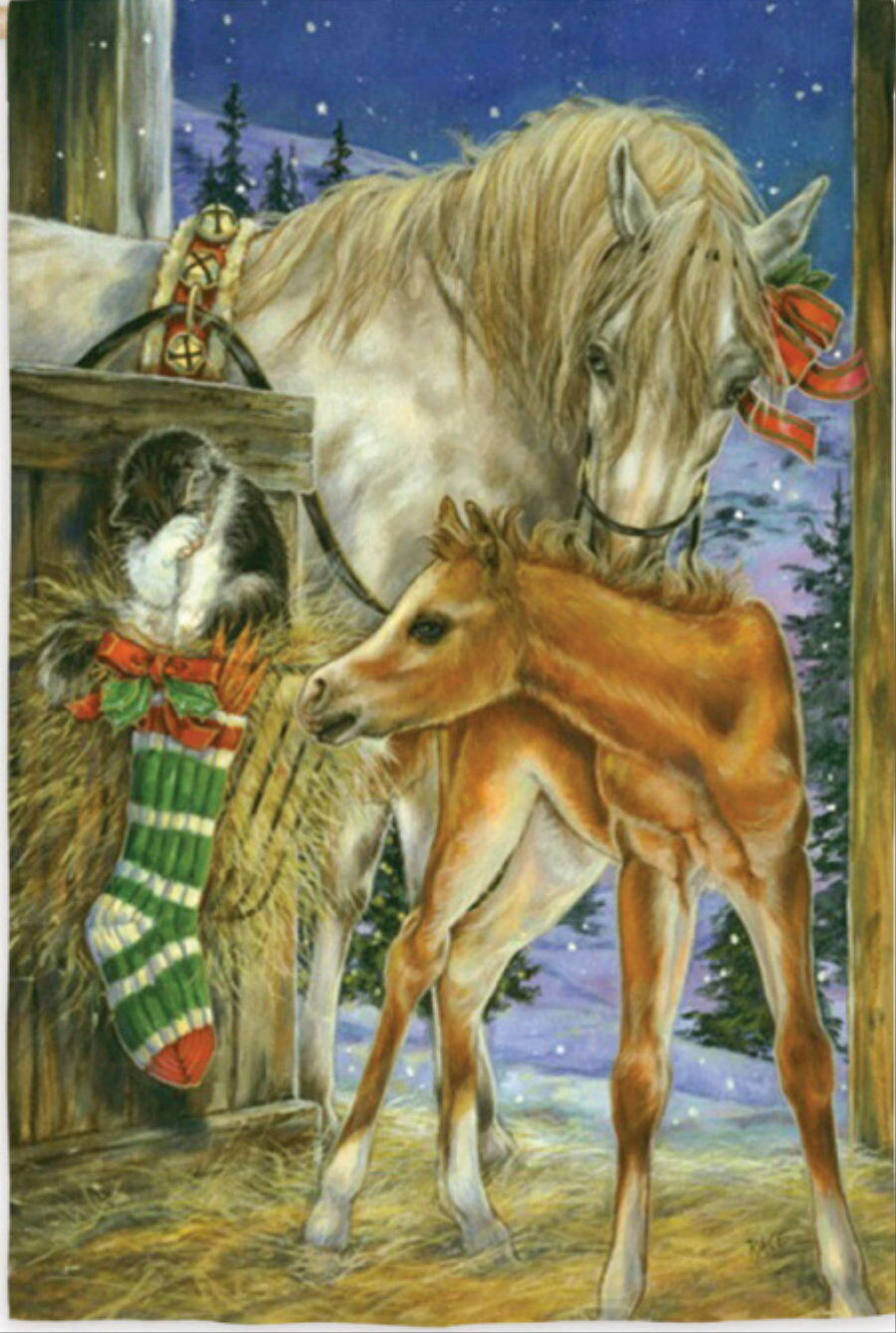 NEW LARGE EVERGREEN FLAG FOALS FIRST CHRISTMAS MARE HORSE CAT  29 X 43