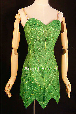 P156C Tinkerbell leaf print dress green rhinestones cosplay adult women - Tinkerbell Dress Womens