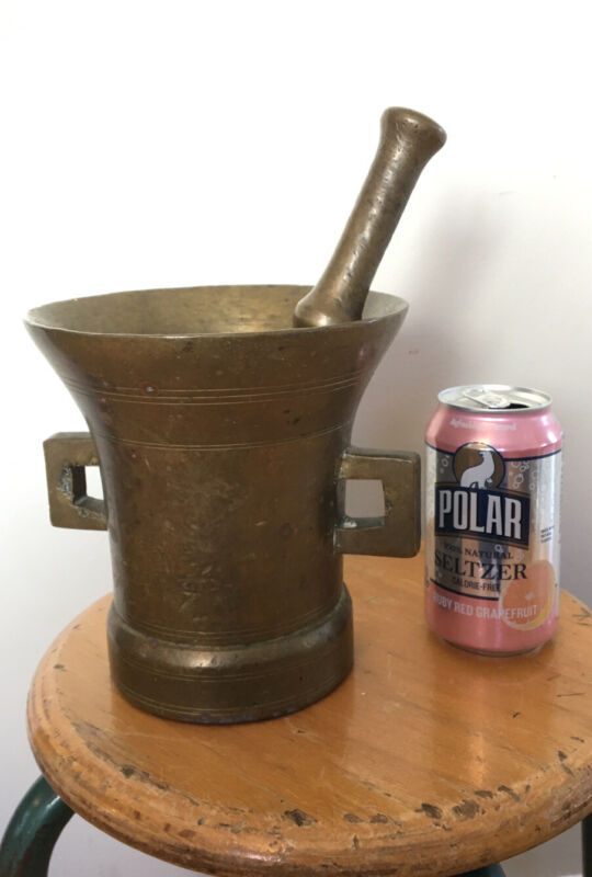 Antique Vtg Large Solid Brass Apothecary Mortar & Pestle Heavy 15 Lbs. !!!!