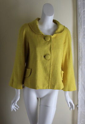 Etcetera -Sz 10 MOD Funky Yellow Woven Vintage-Inspired 3/4 Jacket -