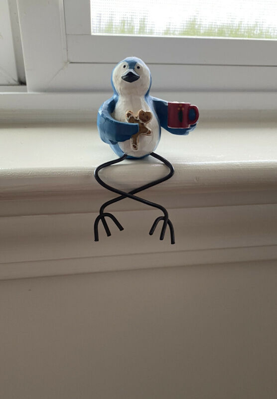 Blue Jay Bird Christmas Figurine Decoration Hot Cocoa