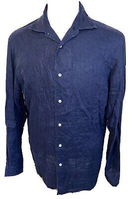 Ralph Lauren Purple Label Navy Blue Indigo Shiny Linen Italy Mens Shirt Sz Large