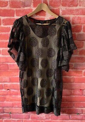 Karen Walker Size 8 Dress Black Gold Glitter Spot Pattern Tunic Shift Party