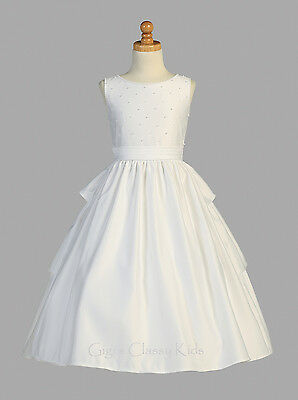 White Flower Girls Satin First Communion Dress Wedding Party Easter Formal - Girl First Communion Dress