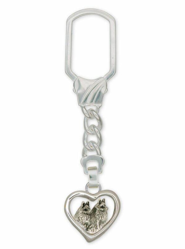 Schipperke Jewelry Sterling Silver Schipperke Key Ring Handmade Dog Jewelry SC6-