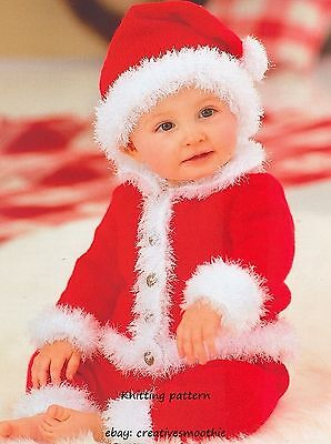 (314) Knitting Pattern for Baby Santa Suit - Jacket, Trousers, Hat, 16-22'' (Santa Suit For Girls)