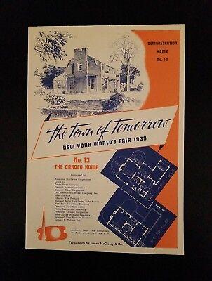 1939 NY World's Fair ~ The Town Of Tomorrow ~ (No.13) The Garden Home ~ New York