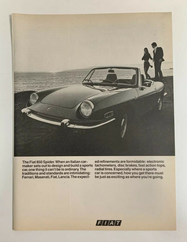 1970 Fiat 850 Spider Sport Car Print Ad Original Vintage Convertible Italy Made